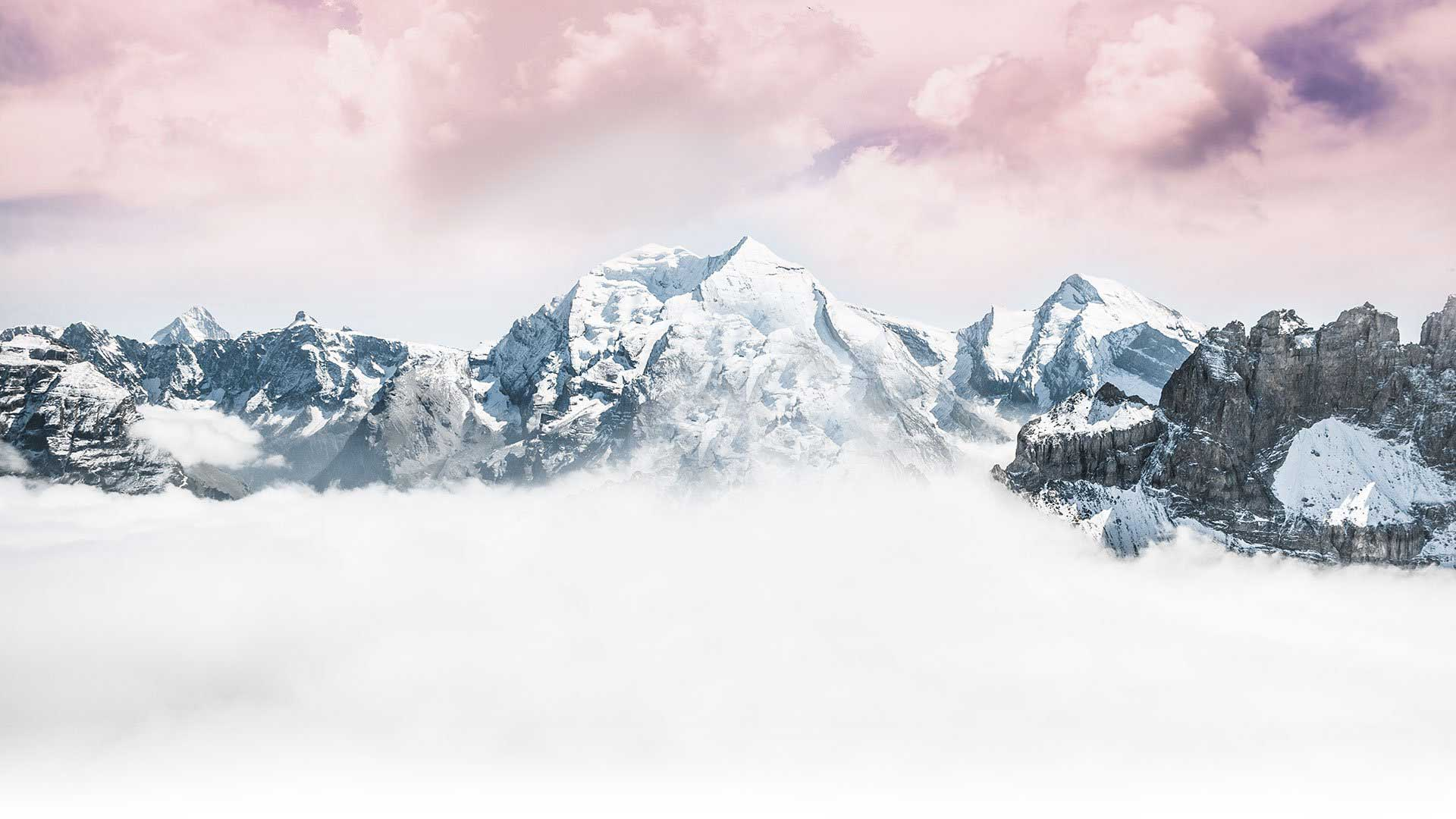 Mountain range covered in snow website background animation